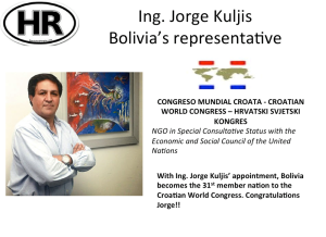 Eng. Jorge Kuljis becomes Bolivia's representative at Croatian World Congress