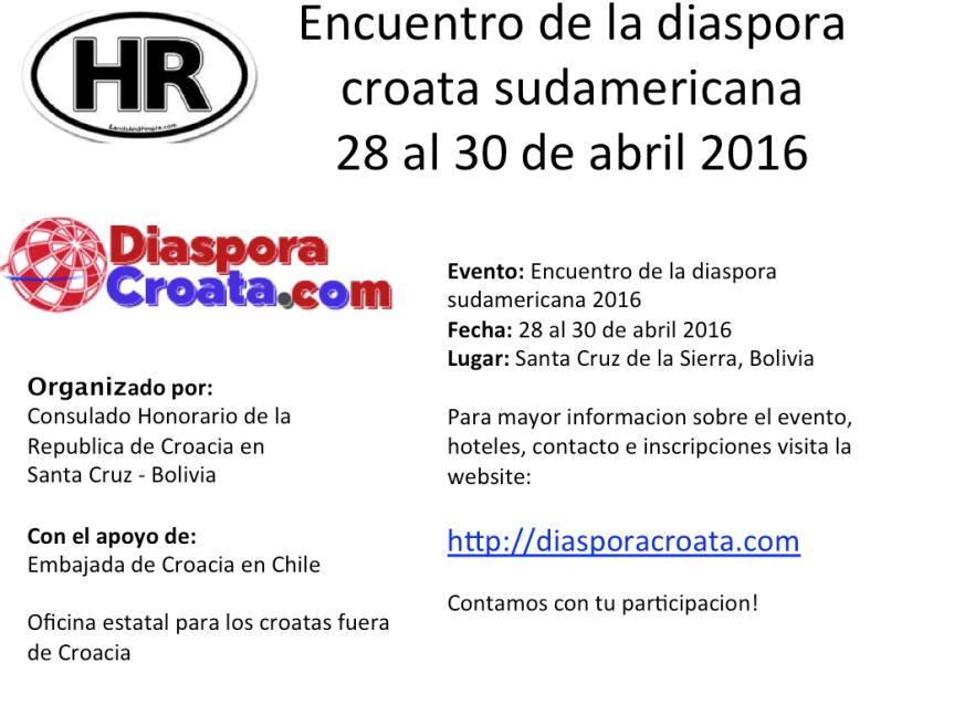 Encuentro de la diaspora croata sudamericana del 28 al 30 de abril 2016 en Santa Cruz de la Sierra,Bolivia