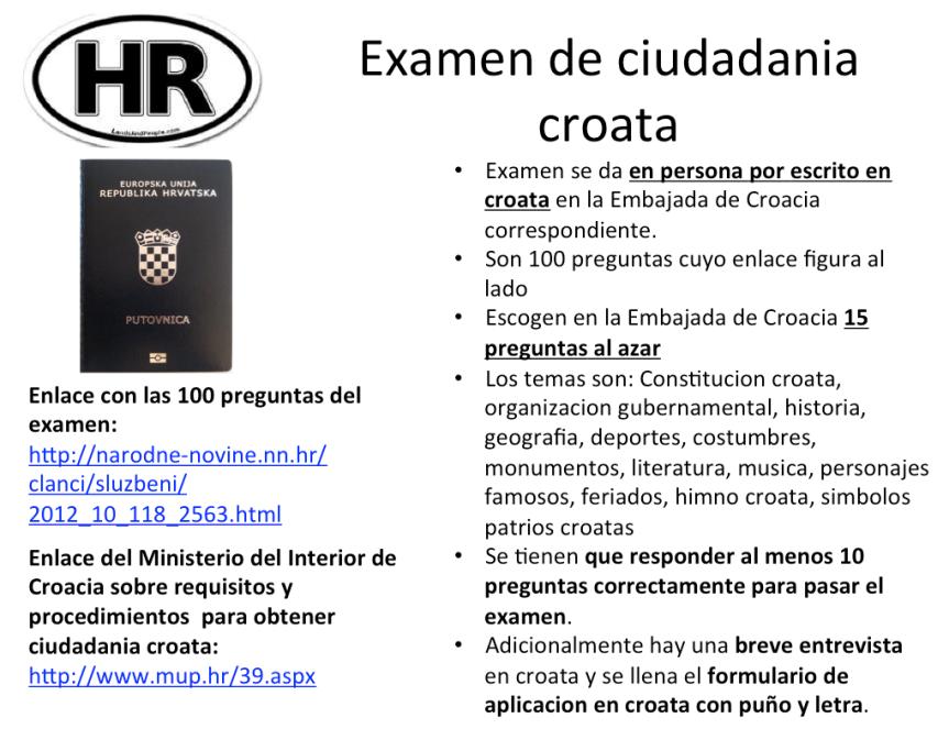 Examen para la ciudadania croata, comoprepararse