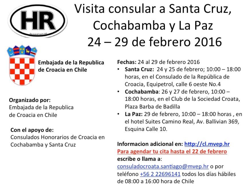 Visita consular 24-29 de febrero. Agenda tu cita directamente con la Embajada de Croacia enChile.