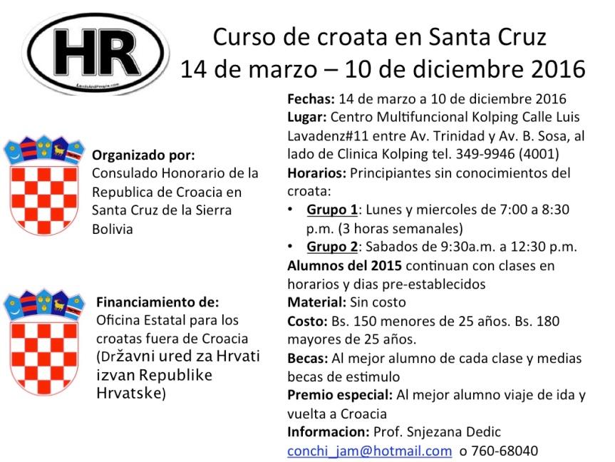 Clases de croata en Santa Cruz, Bolivia. Inicio 14 demarzo!