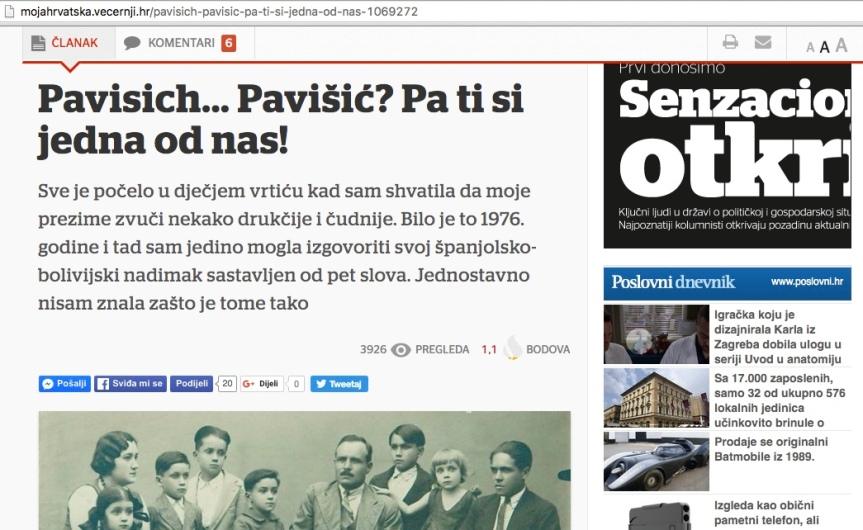 "Vecernji List:""Croatian Bolivian. Pavisich … Pavišić?? You're one of us """