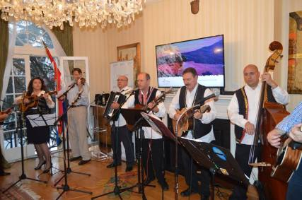Croatian folkloric group plays Croatian music at the Croatian Embassy in Washington, DC