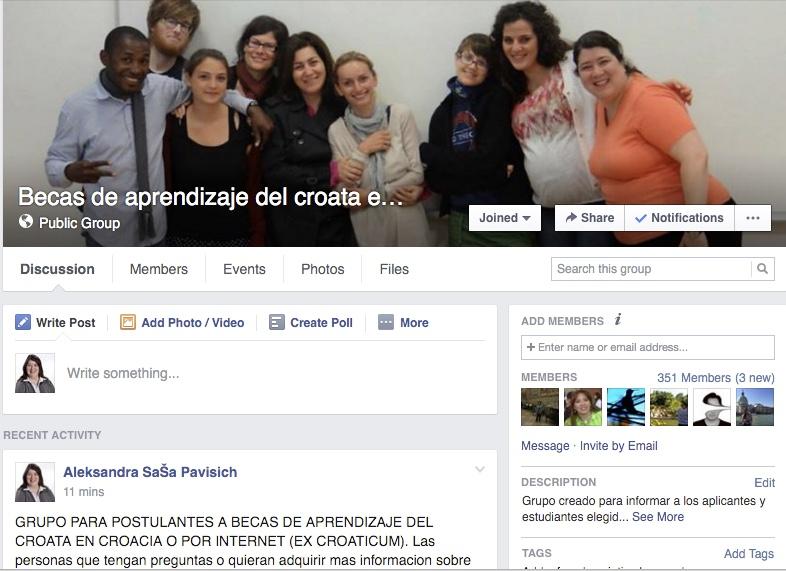 Grupo de Facebook para postulantes a becas de aprendizaje del croata en Croacia o por internet (ExCroaticum)