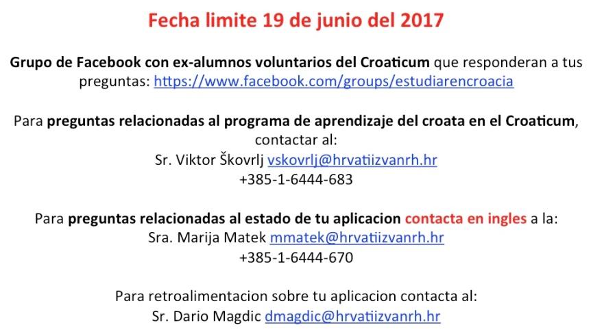 Informacion de contacto Croaticum 2017 –2018